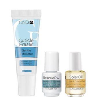 Set ingrijire unghii CND Esential Holiday Ulei cuticule 15ml+Exfoliant cuticule 15ml