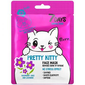 Masca de fata 7Days Animal Mask Pretty Kitty cu suc de zmeura si lavanda 28g