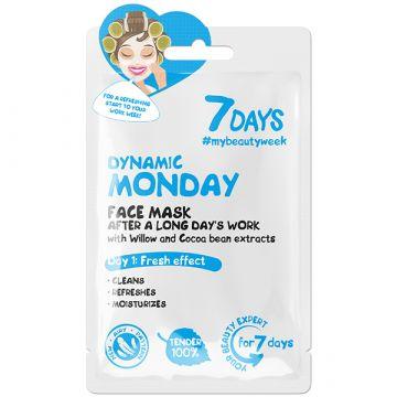 Masca de fata 7Days Dynamic Monday cu salcie si boabe de cacao 28g
