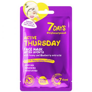 Masca de fata 7Days Active Thursday cu esenta de bujori si afine 28g