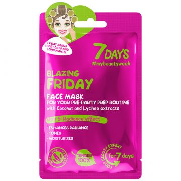 Masca de fata 7Days Blazing Friday cu apa de cocos si litchi 28g