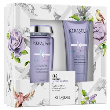 Set Kerastase Blond Absolu Sampon hidratant iluminator Blond Absolu Bain Lumiere 250ml+Balsam intens fortifiant Blond Absolu Cicaflash 250ml