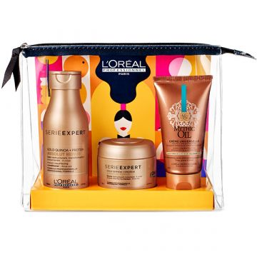 Set pentru ingrijirea parului L'Oreal Professionnel Serie Expert Absolut Repair&Mythic Oil Sampon Absolut Repair 100ml+Masca Absolut Repair 75ml+Crema Universala Mythic Oil 50ml