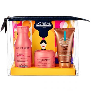 Set pentru ingrijirea parului L'Oreal Professionnel Serie Expert Inforcer&Mythic Oil: Sampon Inforcer 100ml+Masca Inforcer 75ml+Crema Universala Mythic Oil 50ml