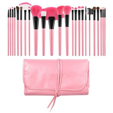 Set 24 pensule Tools4Beauty roz cu husa