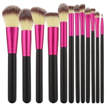 Комплект  12 четки Tools4Beauty черен&розов