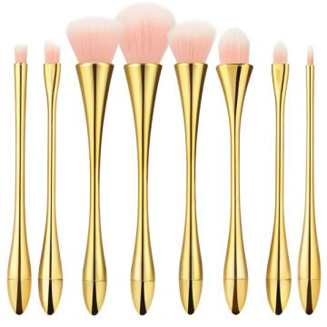 Set 8 pensule Tools4Beauty cu maner metalic auriu