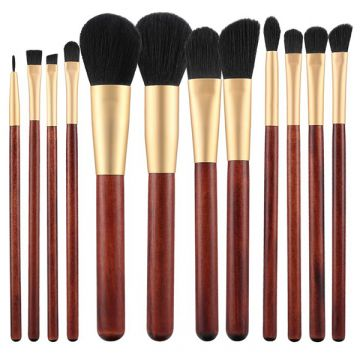Set 12 pensule Tools4Beauty cu maner de lemn