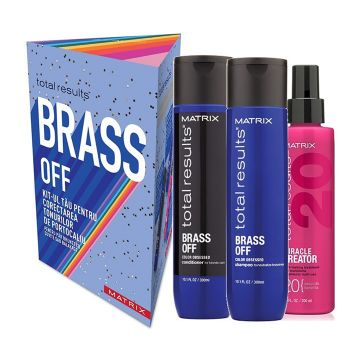Set de par Matrix Total Results Brass Off pentru par decolorat Sampon 300ml+Balsam 300ml+Spray 200ml