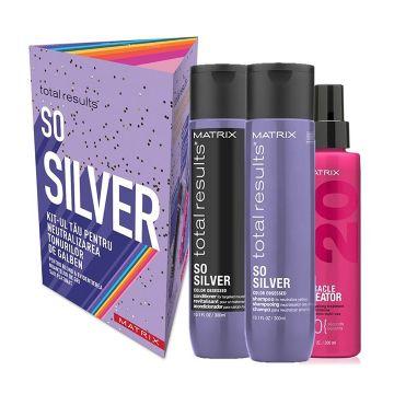 Set de par Matrix Total Results SoSilver pentru par blond Sampon 300ml+Balsam 300ml+Spray 200ml